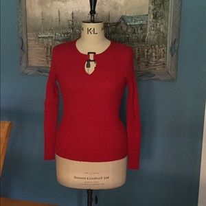 Silk Ribbed Knit Red